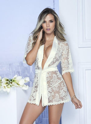 mapale Red Sheer Lace w/ Satin Trim Short Robe (Also in Black) Apparel & Accessories > Clothing > Sleepwear & Loungewear > Robes