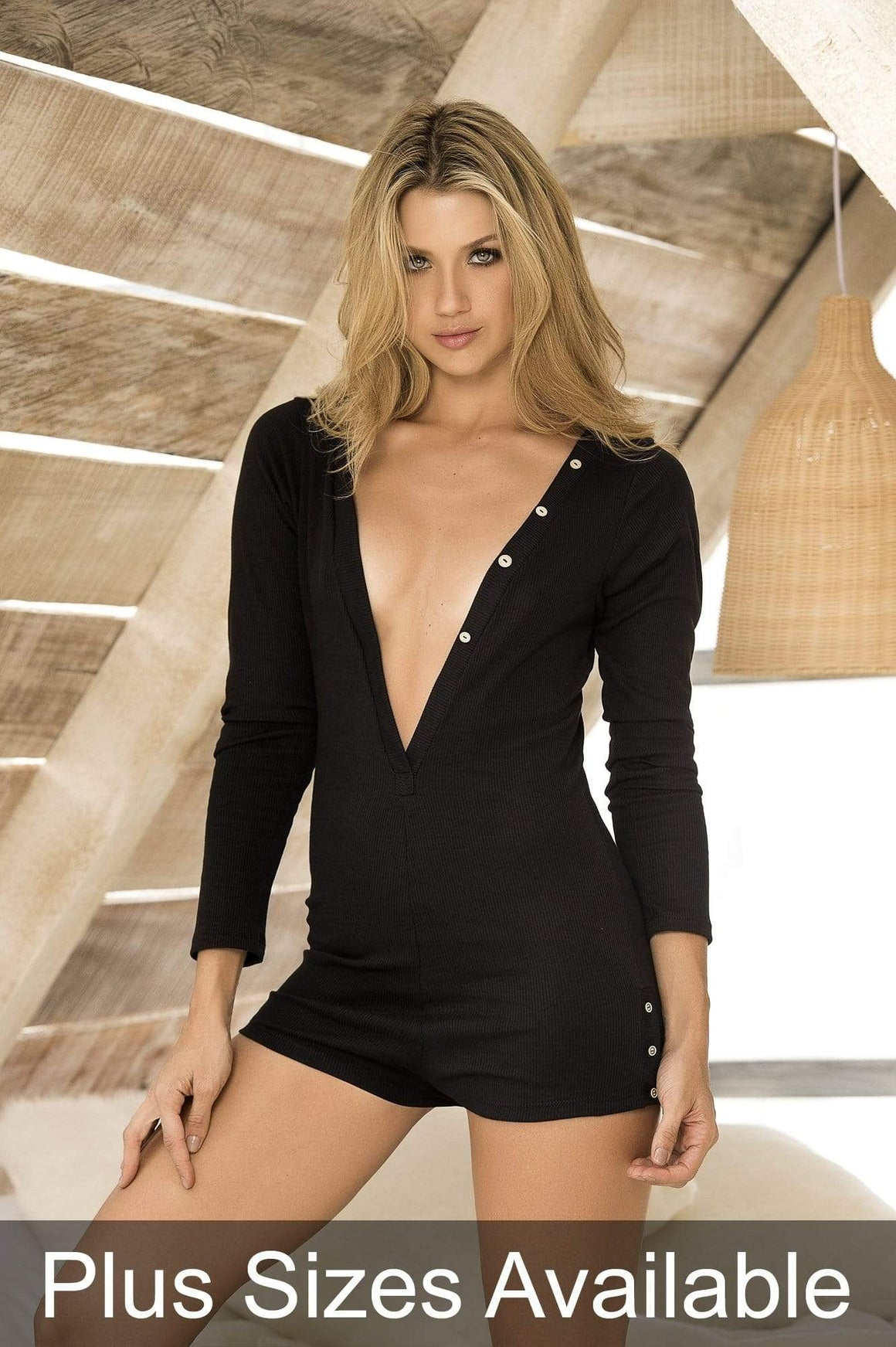 mapale Small / Black Black Plunge Ribbed Long Sleeve Sleep Romper SHC-7223-S-MA Black Plunge Rib Long Sleeve Sleep Romper Plunge Lingerie | SHOP NOW Apparel & Accessories > Clothing > Sleepwear & Loungewear > Robes
