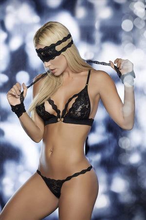 mapale Black 4 Piece Lace Bra, Thong, Mask, & Cuff Set (Blue or Blue available) Black Lace Bra Thong Mask Cuff Set Blue Red | Mapale 8218 | Shop Now Apparel & Accessories > Clothing > Underwear & Socks > Lingerie