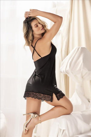 mapale Black Delicate Lace Accent Babydoll Black Delicate Lace Accent Babydoll | MAPALE 7342 Apparel & Accessories > Clothing > Underwear & Socks > Lingerie