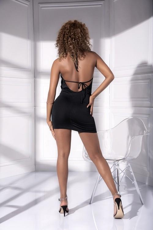 mapale Black Draped Design Low Tied Back Mini Dress Apparel & Accessories > Clothing > Underwear & Socks > Lingerie