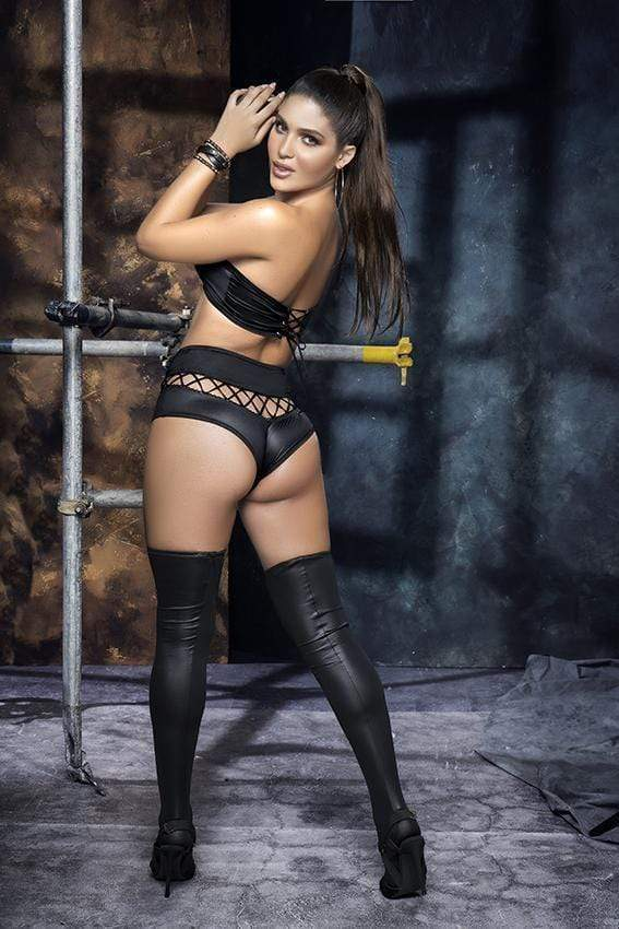 mapale Black Leather-like Strapless Two Piece Set 2021 Black Mesh Tiny Lace Two Piece Set MAPALE 8577 Apparel & Accessories > Clothing > Underwear & Socks > Lingerie