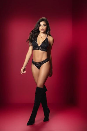 mapale Black Padded Top Front Button Closure & Thong Bottom Two Piece Set Apparel & Accessories > Clothing > Underwear & Socks > Lingerie