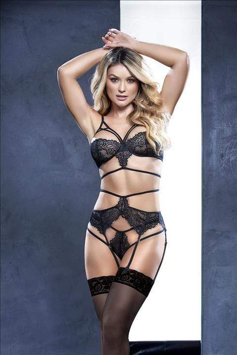mapale Black / S/M Black Lace Strappy Top w/ Strap Garter Belt & Thong Set SHC-8545-S/M-BLK-MA Black Lace Strappy Design Top Strap Garter Belt Thong | MAPALE 8545 Apparel & Accessories > Clothing > Underwear & Socks > Lingerie