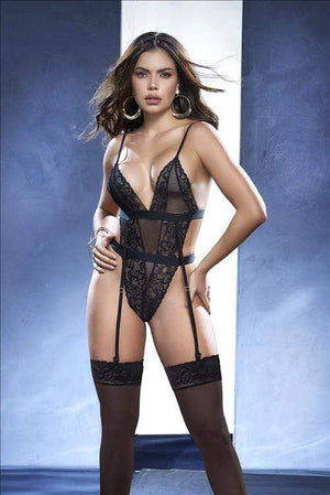 mapale Black / S/M Black Lace with Mesh Accent, Cinched Waist and Thong Bottom Teddy SHC-8547-S/M-BLK-MA Black Lace Mesh Accent, Cinched Waist Thong Bottom Teddy | MAPALE 8547 Apparel & Accessories > Clothing > Underwear & Socks > Lingerie