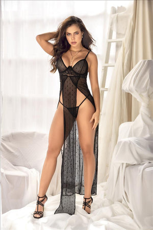 mapale Black / S/M Black Mesh & Underwire Lace Accent Long Nightgown w/ Matching Thong SHC-7345-S/M-MA Black Mesh Underwire Lace Accent Long Nightgown w/ Thong | MAPALE 7345 Apparel & Accessories > Clothing > Underwear & Socks > Lingerie