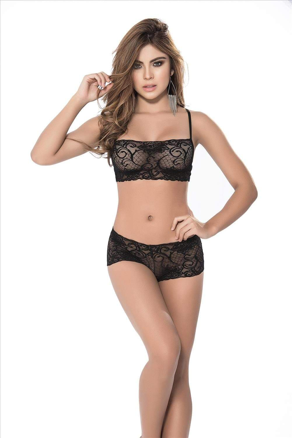 mapale Black / Small Sexy Black  Lace Top & Boy Short Panty Two Piece Lingerie Set (Many colors available) ESP-206-BLACK-SMALL Apparel & Accessories > Clothing > Underwear & Socks > Lingerie