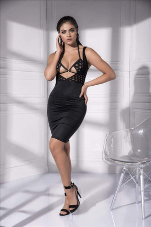 mapale Black / Small Wet Black Open Front Bodycon Dress SHC-4538-BLACK-S-MA Wet Black Open Front Bodycon Party Cocktail Evening Dress MAPALE 4531 Apparel & Accessories > Clothing > Underwear & Socks > Lingerie
