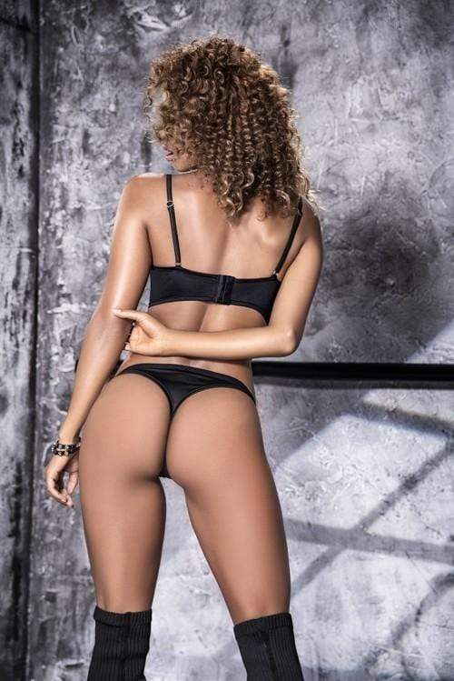mapale Black Strappy Top w/ Eyelet Details Matching Thong Cut Bottom Two Piece Set Apparel & Accessories > Clothing > Underwear & Socks > Lingerie