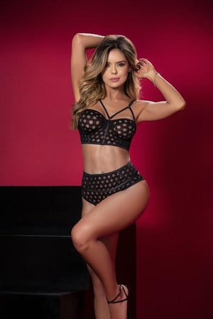 mapale Black Texured Fabric Strappy Top Matching High Waist Thong Bottom Two Piece Set Apparel & Accessories > Clothing > Underwear & Socks > Lingerie