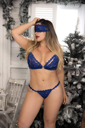 mapale Blue / 1X/2X Blue Lace Plus Size 4 Piece Set (Red also available) SHC-8218X-BLUE-1X/2X-MA BlueLace Top Thong Mask & LaceCuffs Set Plus Size|Mapale 8255|SHOP NOW Apparel & Accessories > Clothing > Underwear & Socks > Lingerie
