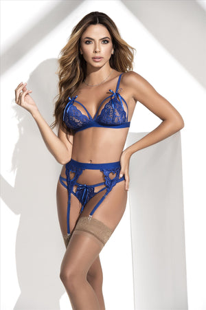 mapale Blue / S/M Royal Blue Lace Bra, Thong, & Garter 3 Pc. Set (Many colors available) SHC-8221-BLUE-S/M-MA Royal Blue Lingerie Lace Set Bra Thong & Garter MAPALE 8221 | SHOP NOW | Apparel & Accessories > Clothing > Underwear & Socks > Lingerie