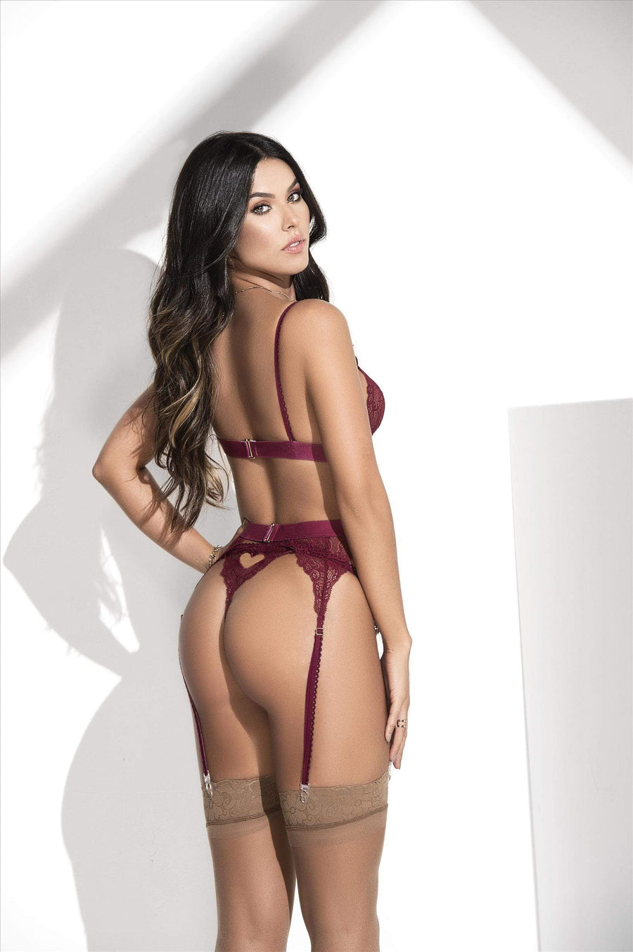 mapale Burgundy / S/M Burgundy Lace Bra, Thong, & Garter 3 Pc. Set (Many colors available) SHC-8221-BURGUNDY-S/M-MA Burgundy Lingerie Lace Set Bra Thong & Garter MAPALE 8221 | SHOP NOW | Apparel & Accessories > Clothing > Underwear & Socks > Lingerie