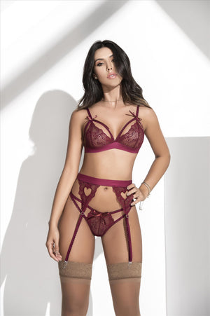 mapale Burgundy / S/M White Lace Bra, Thong, & Garter 3 Pc. Set (Many colors available) SHC-8221-BURGUNDY-S/M-MA White Lingerie Lace Set Bra Thong & Garter MAPALE 8221 | SHOP NOW | Apparel & Accessories > Clothing > Underwear & Socks > Lingerie