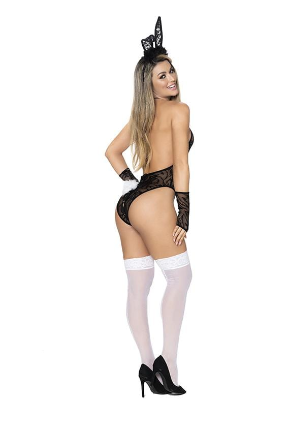 mapale Black/White / S/M Four Piece Sexy Bunny Teddy SHC-6438-BLK-SM-MA 2021 Four Piece Sexy Bunny Teddy | Mapale 6438 Apparel & Accessories > Clothing > Underwear & Socks > Lingerie