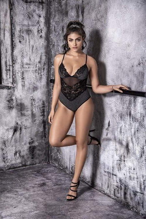 mapale Grey/Black Ribbed Shimmery Bodysuit Apparel & Accessories > Clothing > Underwear & Socks > Lingerie