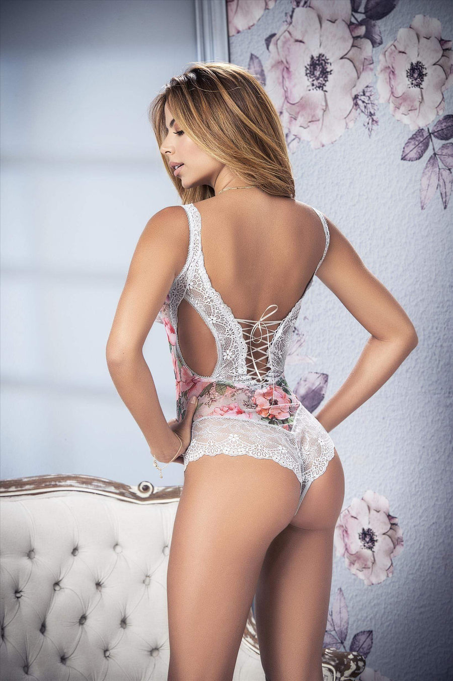 mapale Grey Floral Print Mesh & Lace Teddy Apparel & Accessories > Clothing > Underwear & Socks > Lingerie