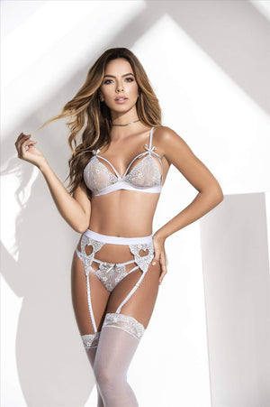 mapale Grey / S/M White Lace Bra, Thong, & Garter 3 Pc. Set (Many colors available) SHC-8221-GREY-S/M-MA White Lingerie Lace Set Bra Thong & Garter MAPALE 8221 | SHOP NOW | Apparel & Accessories > Clothing > Underwear & Socks > Lingerie