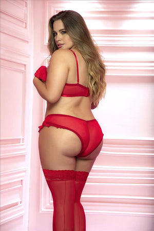 mapale Plus Size Red Open-cup Sheer Mesh Bra & Panty Set Red Open-cup Sheer Mesh Bra Panty Plus Size Lingerie | MAPALE 8563X Apparel & Accessories > Clothing > Underwear & Socks > Lingerie
