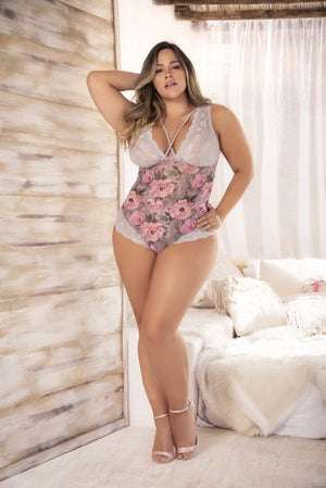 mapale Print / 2/3X Grey Floral Print Mesh & Lace Teddy Plus Size SHC-8349X-2/3X-MA Apparel & Accessories > Clothing > Underwear & Socks > Lingerie