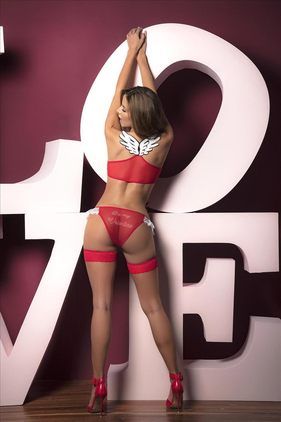mapale Red / S/M Red Lace Underboob Top w/ Ruffle Bottom Set SHC-8462-RED-S/M-MA Red Lace Underboob Top w/ Ruffle Bottom Set | Mapale 8462 | SHOP NOW Apparel & Accessories > Clothing > Underwear & Socks > Lingerie