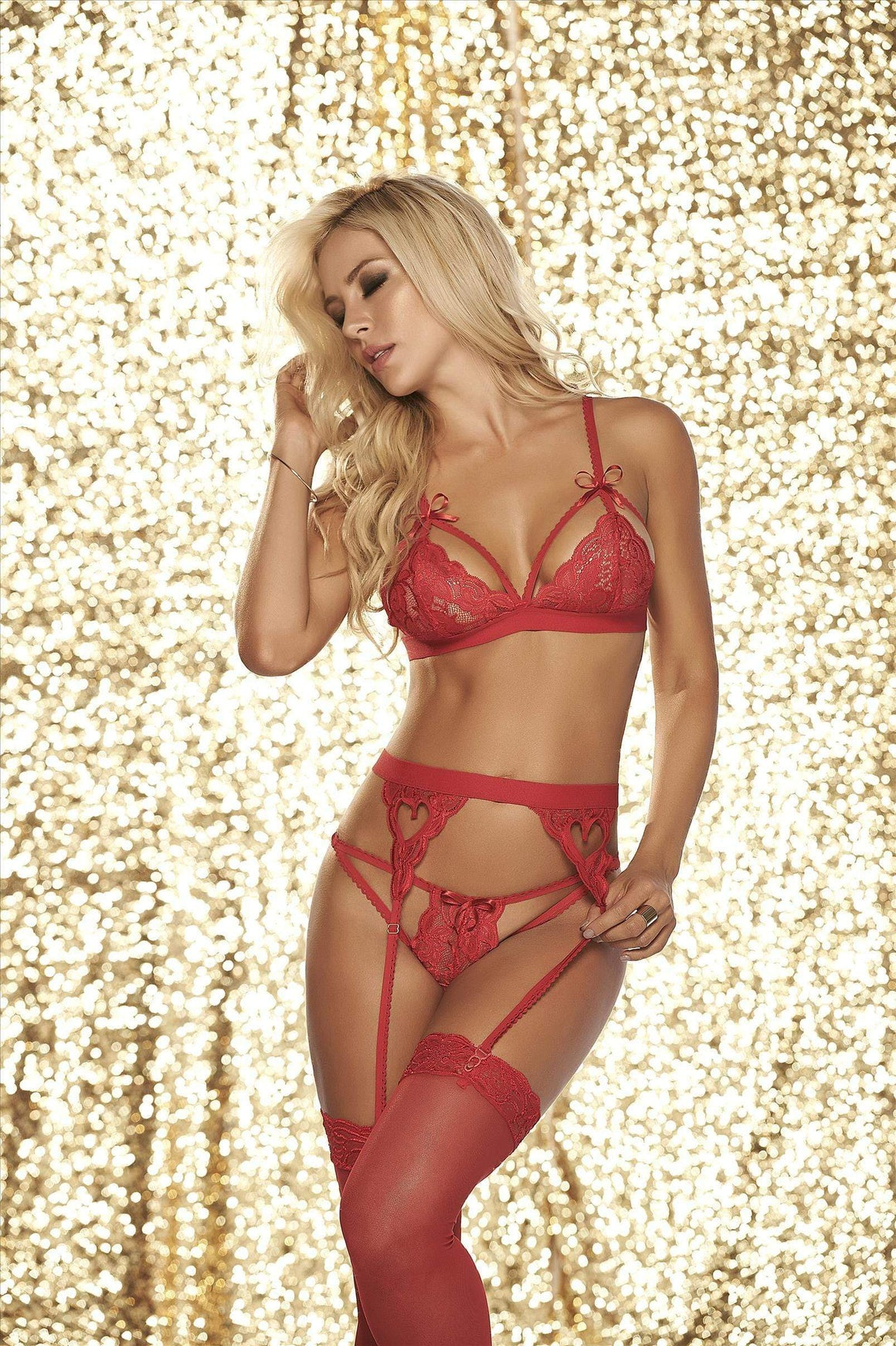 mapale Red / S/M Red Lace Bra, Thong, & Garter 3 Pc. Set (Many colors available) SHC-8221-RED-S/M-MA Red Lingerie Lace Set Bra Thong & Garter MAPALE 8221 | SHOP NOW | Apparel & Accessories > Clothing > Underwear & Socks > Lingerie