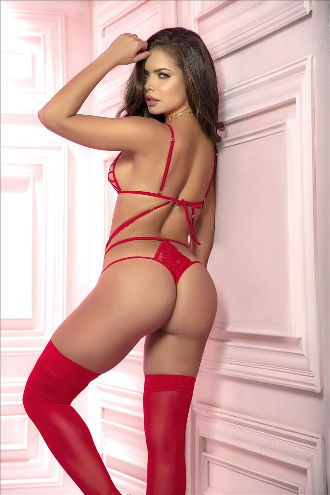 mapale S/M / Red Red Strappy Heart Top with Matching Thong Bottom Two Piece Set SHC-8571-S/M-Red-MA Red Strappy Heart Top Matching Thong Bottom Two Piece | MAPALE 8571 Apparel & Accessories > Clothing > Underwear & Socks > Lingerie