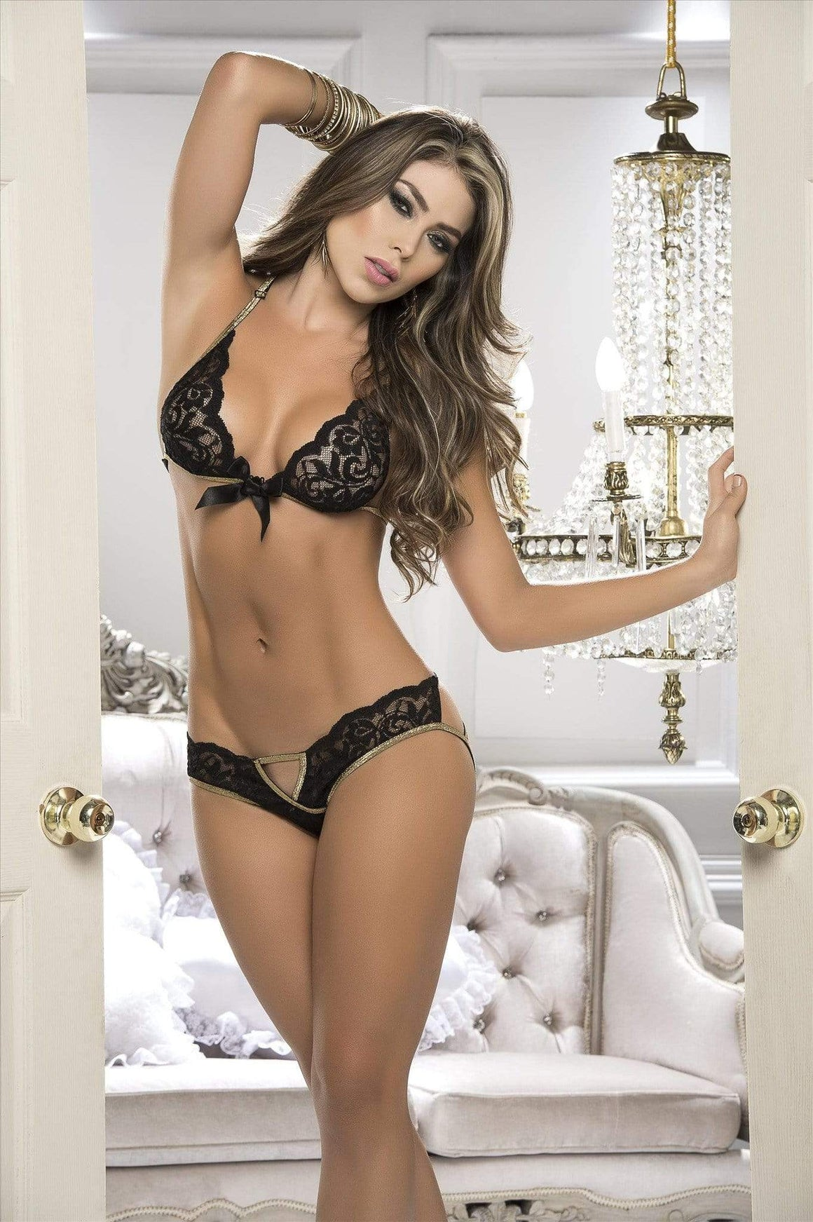 mapale Black Floral 2 Piece Lace Bra & Panty Set (Also in Ivory)  Black Floral 2 Piece Lace Set with Glittering Gold Straps Apparel & Accessories > Clothing > Underwear & Socks > Lingerie