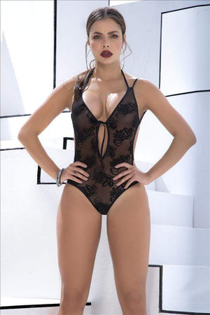 mapale S/M / Black Black Sheer Laced Plunging Neckline Teddy One Piece Set SHC-8540-S/M-BLK-MA Black Sheer Laced Plunging Neckline Teddy One Piece Set | MAPALE 8540 Apparel & Accessories > Clothing > Underwear & Socks > Lingerie