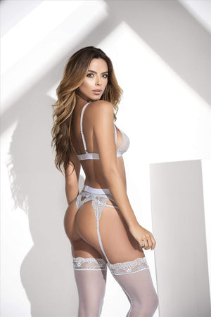 mapale White Lace Bra, Thong, & Garter 3 Pc. Set (Many colors available) White Lingerie Lace Set Bra Thong & Garter MAPALE 8221 | SHOP NOW | Apparel & Accessories > Clothing > Underwear & Socks > Lingerie