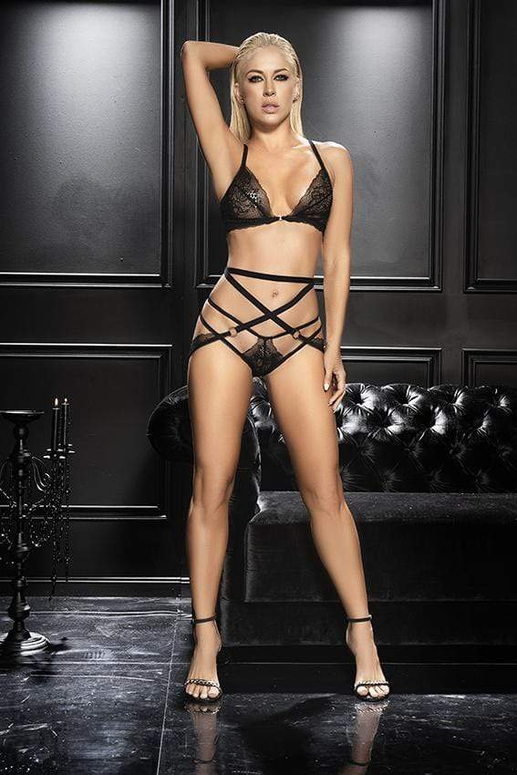 mapale S/M / Black Black Lacy Three-Piece with Attached Harness SHC-8609-BLK-SM-MA 2021 Black Lacy Three-Piece with Attached Harness | MAPALE 8609 Apparel & Accessories > Clothing > Underwear & Socks > Underwear