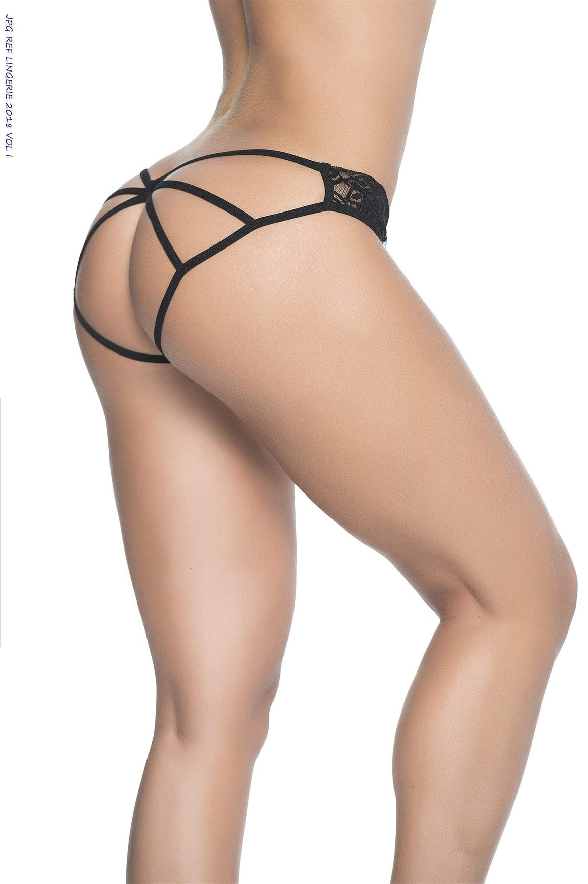 mapale SMALL / Black Black Lace Cage Detailed  Rear Panty Lingerie (Many Colors Available) SHS-97-BLACK-S-MA-3 Mapale 96 Sexy Black Lace Thong Bikini Bottom pink white yellow ivory green orange red Apparel & Accessories > Clothing > Underwear & Socks > Underwear