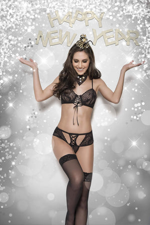 mapale New Year's Eve Party Costume Underwired Lace Top With Lace Up Front Detail Apparel & Accessories > Costumes & Accessories > Costumes