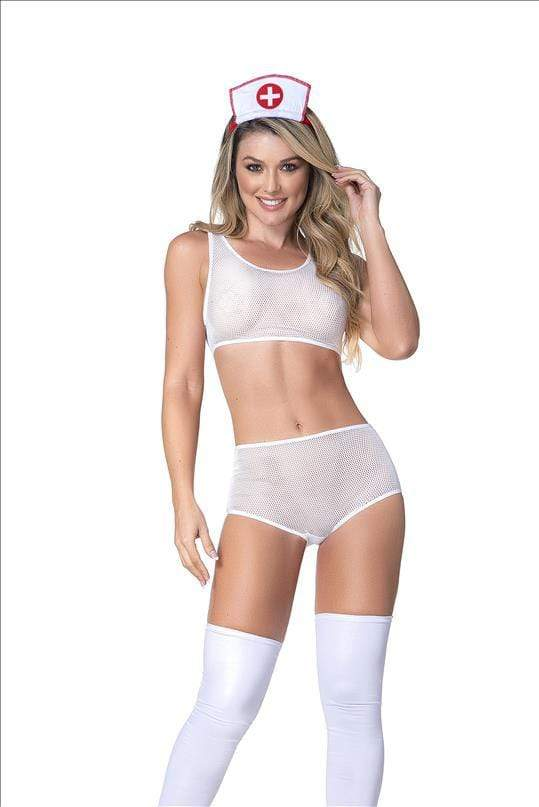 mapale S/M Sexy Nurse Mesh Top w/ Matching High-waist Panty & Headband 5 Pc Set SHC-6416-S/M-MA Sexy Nurse Mesh Top w/ Matching Highwaist Panty Headband | MAPALE 6416 Apparel & Accessories > Costumes & Accessories > Costumes