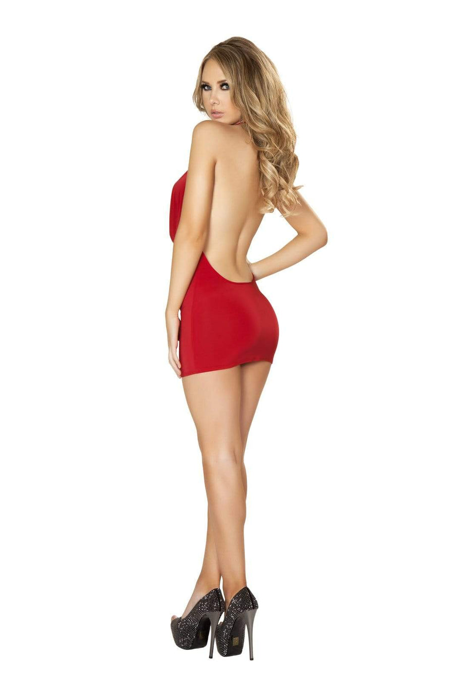Roma S/M / Red Red O-Ring Plunge Cowl Neck Open Back Cocktail Party Mini Dress (Many colors available) SHC-3131-RED-S/M-R Sexy Red O-Ring Plunge Cowl Neck Cocktail Party Mini Dress Roma 3131 Apparel & Accessories > Clothing > Dresses