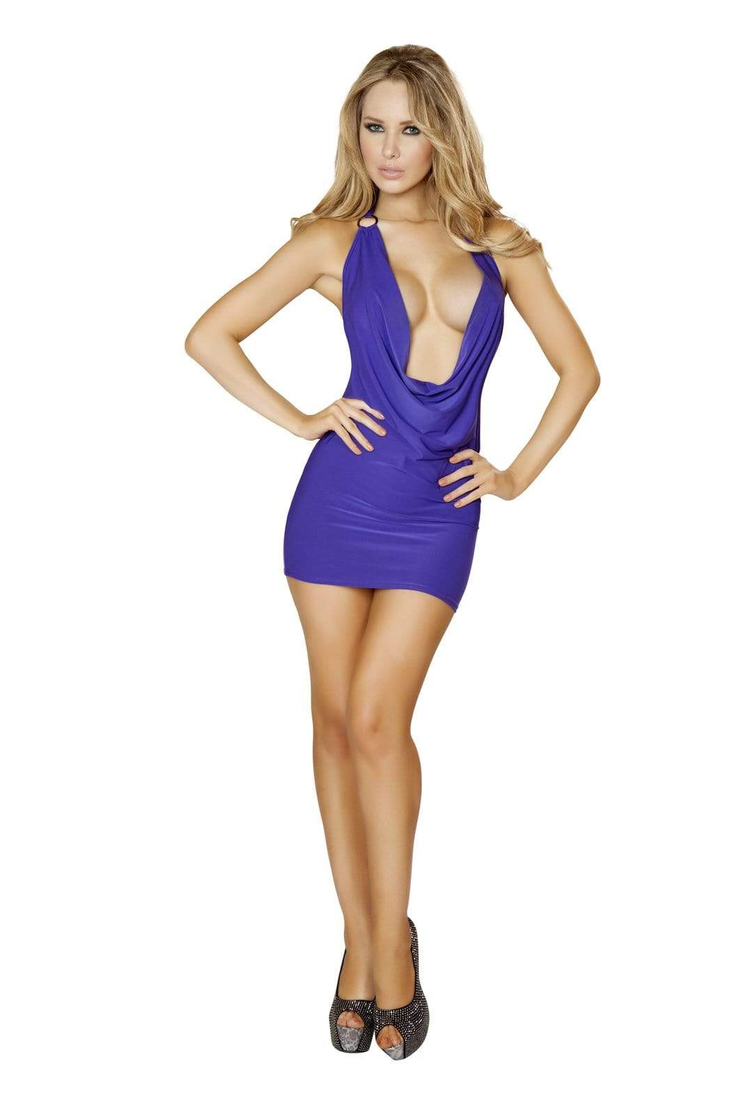 Roma S/M / Purple Purple O-Ring Plunge Cowl Neck Open Back Cocktail Party Mini Dress (Many colors available) SHC-3131-PURPLE-S/M-R Sexy Purple O-Ring Plunge Cowl Neck Party Mini Dress Roma 3131 | SHOP NOW Apparel & Accessories > Clothing > Dresses