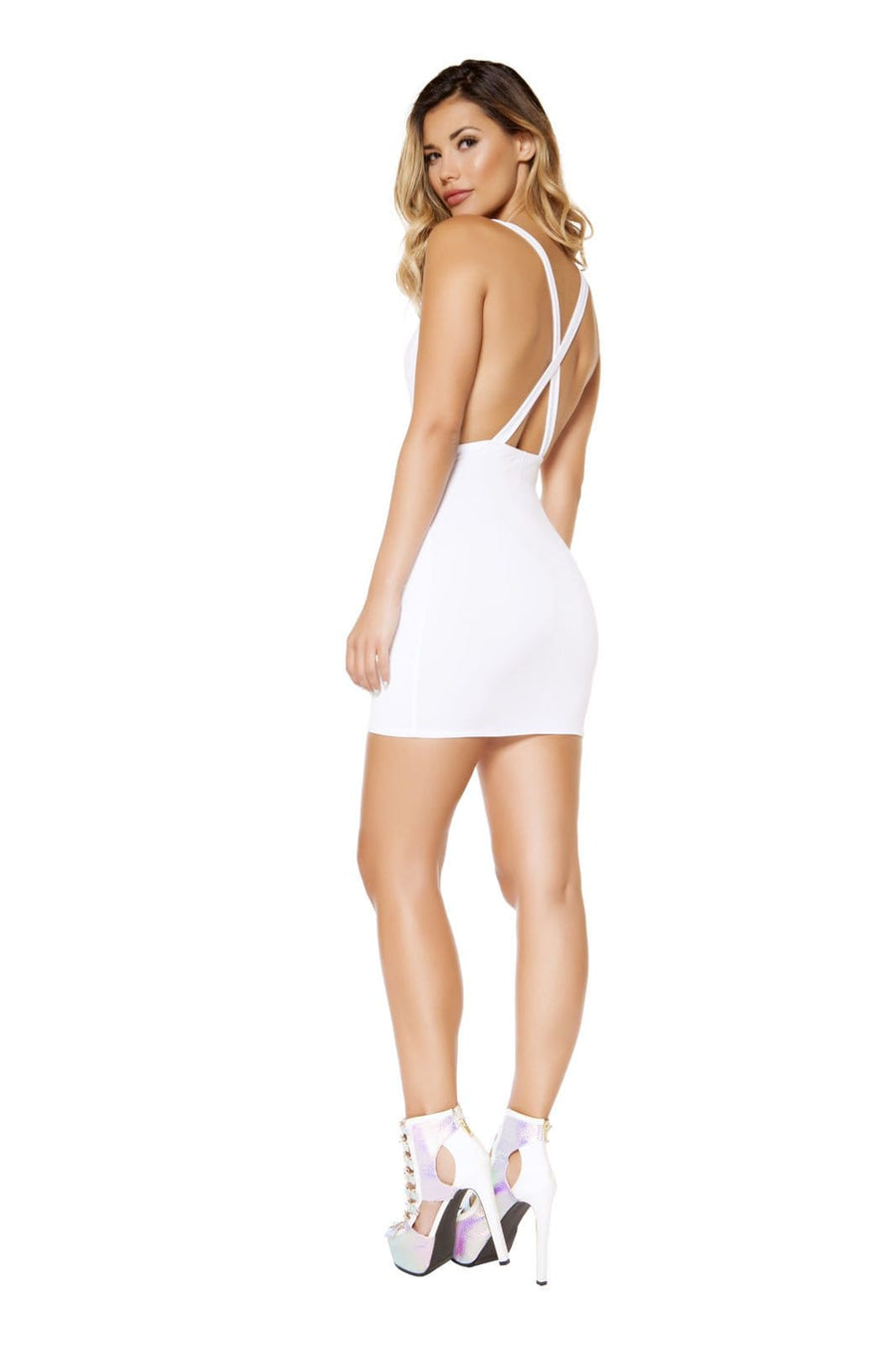 Roma White Cowl Neck Open Side Criss Cross Back Party Mini Dress Apparel & Accessories > Clothing > Dresses