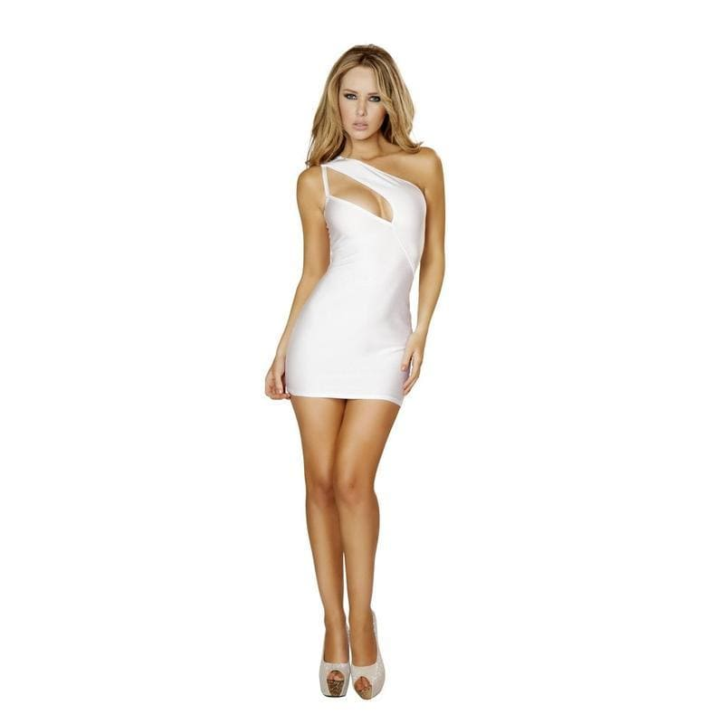 Roma White One Shoulder Cut Out Club Mini Dress Apparel & Accessories > Clothing > Dresses
