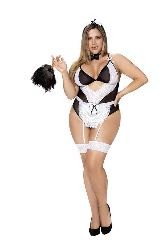 Roma 1/2X / Black/White Sexy Curvy Maid Costume with Lace Apron SHC-6428X-BLK-S-MA 2021 Sexy Curvy Maid Costume with Lace Apron | Mapale 6428X Apparel & Accessories > Clothing > One Pieces > Jumpsuits & Rompers