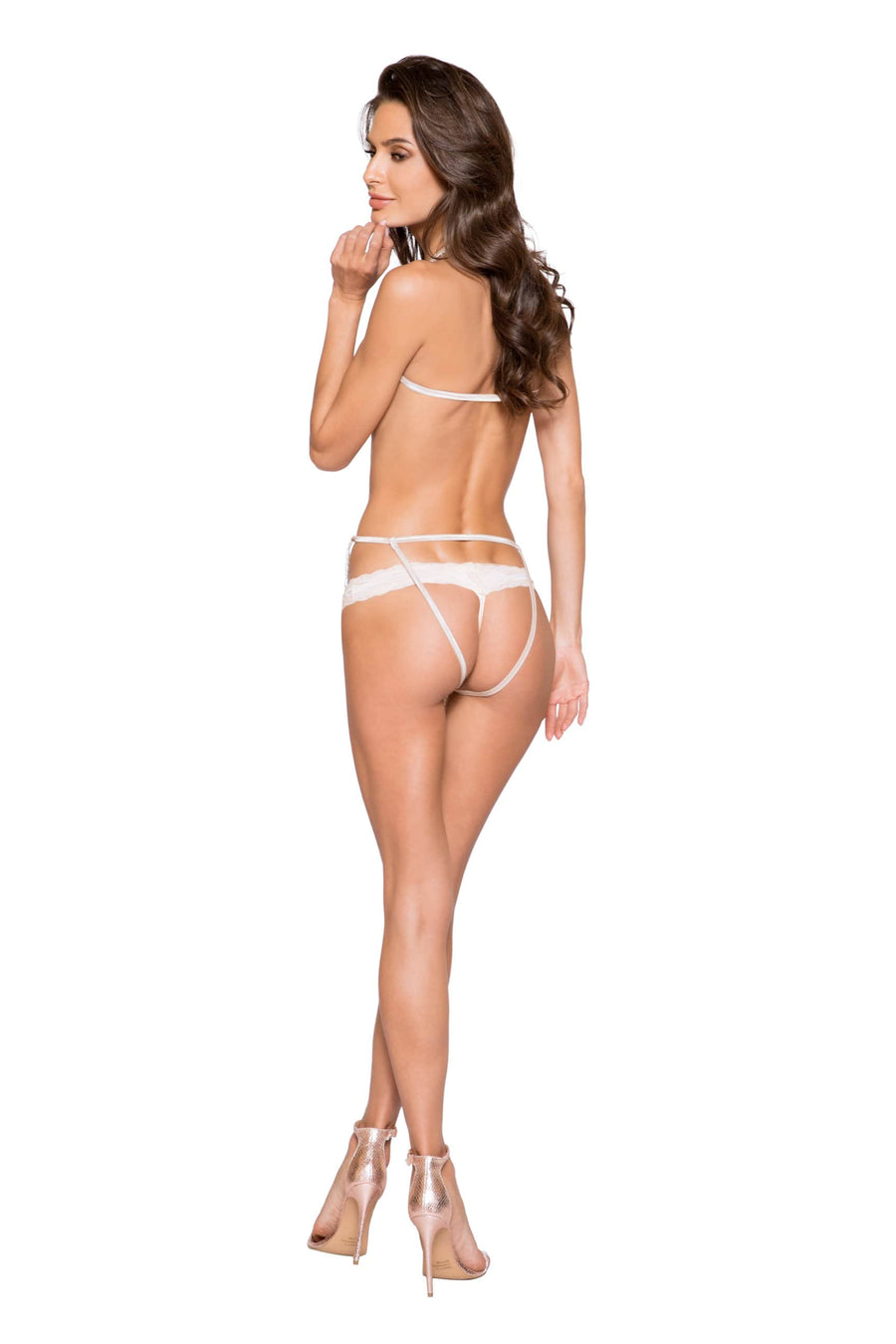 Roma S/M / Nude Beige Beaded Fringe Thong G-String Strappy Teddy SHC-LI297-BEIGE-S/M Apparel & Accessories > Clothing > One Pieces > Jumpsuits & Rompers