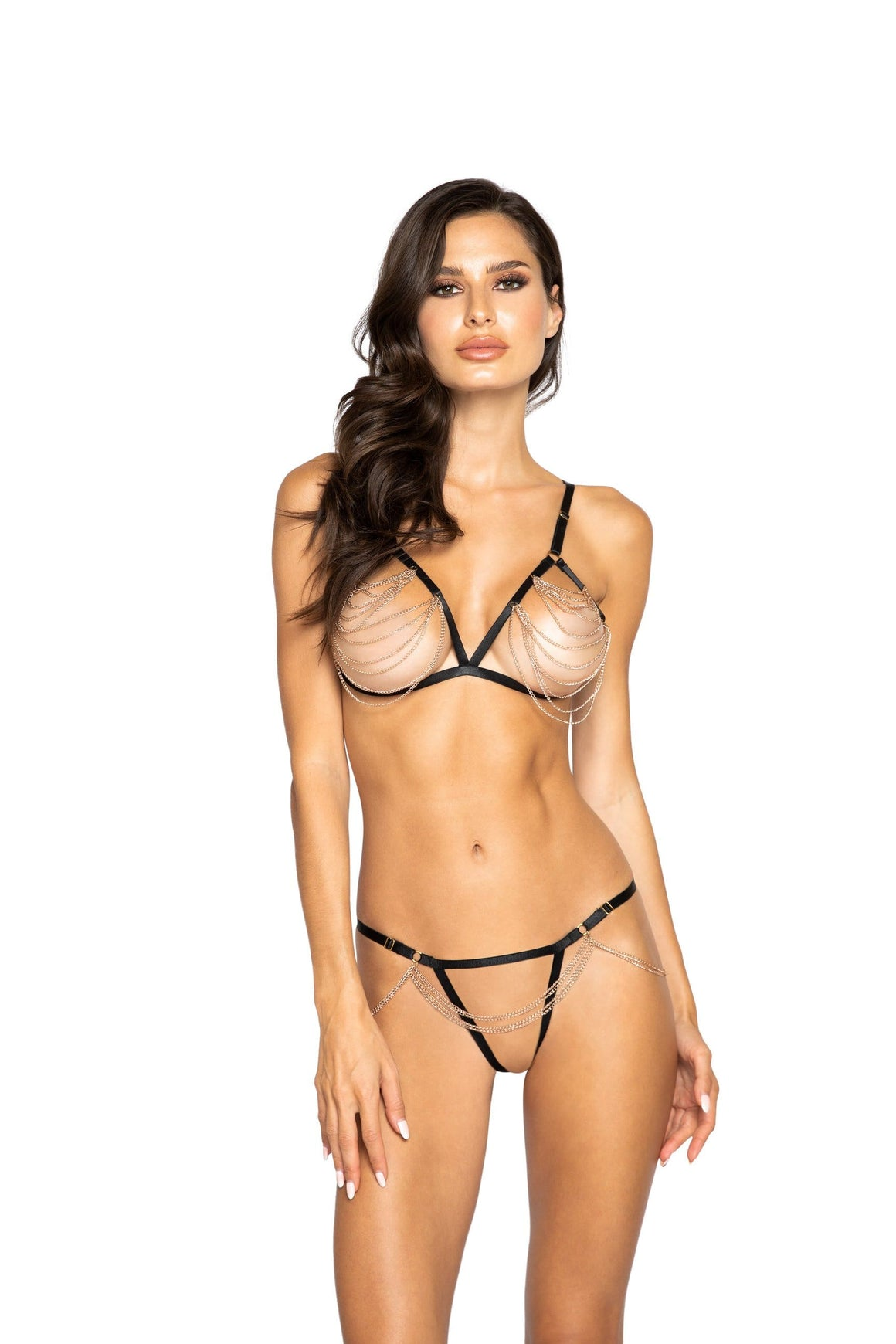 Roma Black/Gold Open Bra & Thong Chained Lingerie Set Apparel & Accessories > Clothing > One Pieces > Jumpsuits & Rompers