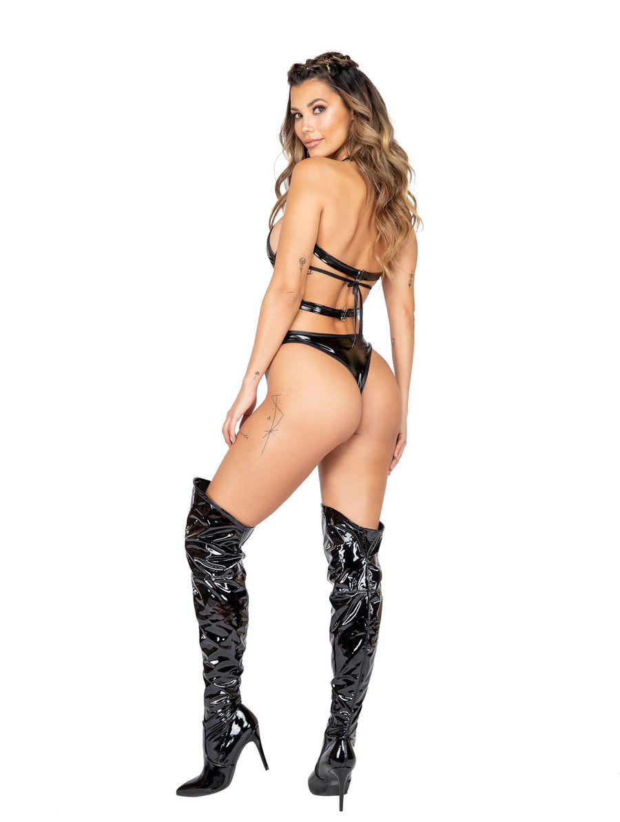 Roma Black One Piece Latex Holster Romper w/ Ring Detail Apparel & Accessories > Clothing > One Pieces > Jumpsuits & Rompers
