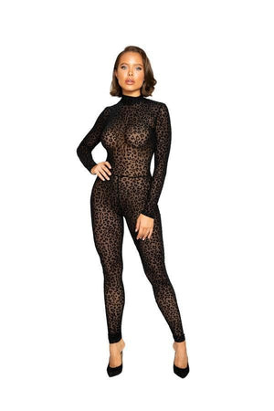 Roma Black Velvet Leopard Print Long Sleeve Bodysuit Apparel & Accessories > Clothing > One Pieces > Jumpsuits & Rompers