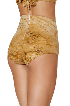 Roma Brown Tie Dye Suede High-Waist Shorts Apparel & Accessories > Clothing > One Pieces > Jumpsuits & Rompers