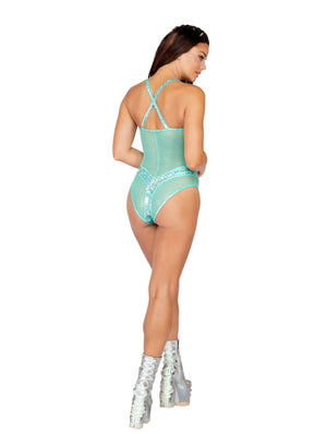 Roma Light Green One Piece Part Sheer Romper Apparel & Accessories > Clothing > One Pieces > Jumpsuits & Rompers