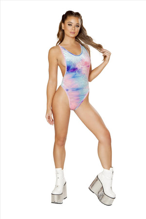 Roma M/L / Tye Die Blue Tie Dye Low Cut Velvet Romper SHC-3579-TDB-M/L Apparel & Accessories > Clothing > One Pieces > Jumpsuits & Rompers