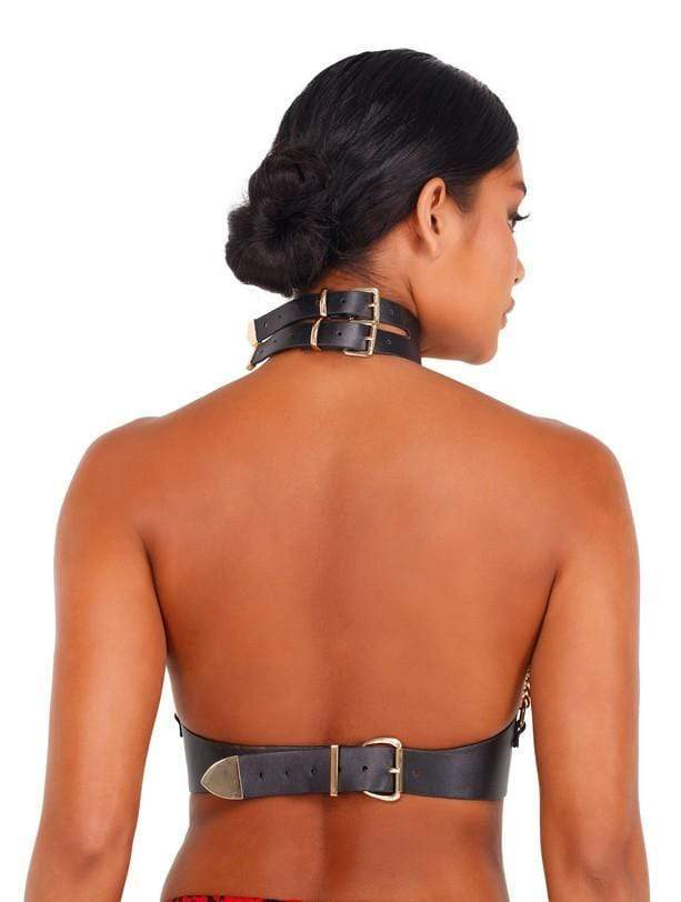 Roma One Size / Black/Gold Leatherette & Chain Holster with Buckle Closure SHC-LI415-Blk/Gold-O/S Leatherette & Chain Holster with Buckle Closure | ROMA COSTUME LI415 Apparel & Accessories > Clothing > One Pieces > Jumpsuits & Rompers