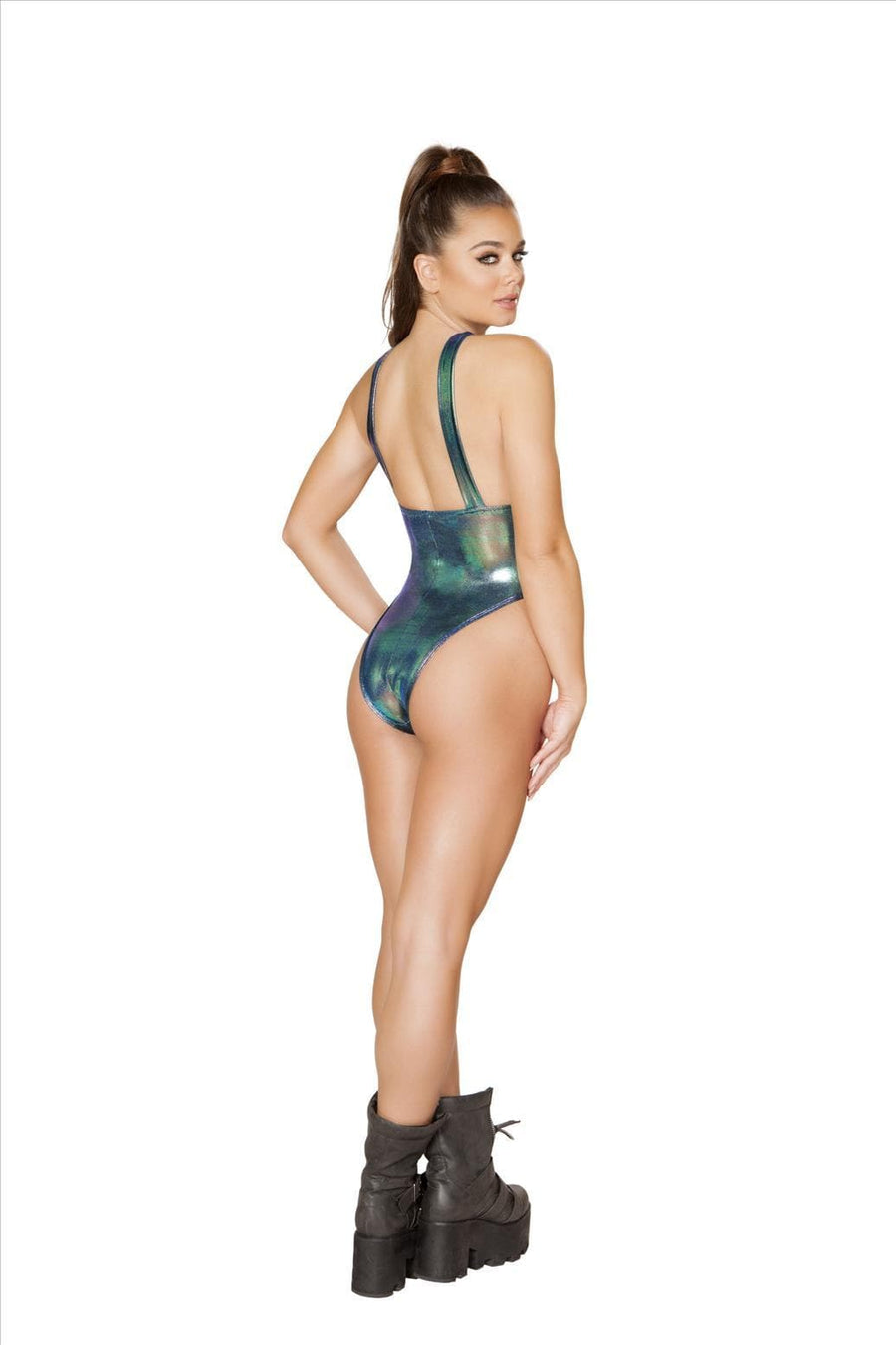 Roma S/M / Blue Iridescent Blue Overall w/ Front Pocket Detail One Piece Bodysuit SHC-3550-BLUE-S/M-R Iridescent Blue Overall w/ Front Pocket Detail One Piece Swimsuit (Many Colors Available) Apparel & Accessories > Clothing > One Pieces > Jumpsuits & Rompers