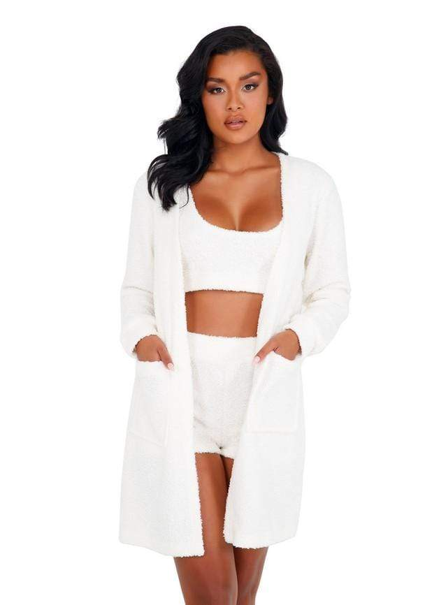Roma S/M / White White Fuzzy Robe with Pockets SHC-LI411-Wht-S/M White Fuzzy Robe with Pockets | ROMA COSTUME LI411 Apparel & Accessories > Clothing > One Pieces > Jumpsuits & Rompers
