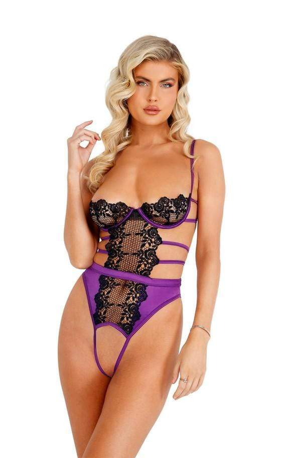 Roma Small / Purple/Black Purple/Black Embroidered Lace & Satin Crotchless Teddy SHC-LI405-PP/Blk-S Embroidered Lace Satin Crotchless Teddy | ROMA COSTUME LI405 Apparel & Accessories > Clothing > One Pieces > Jumpsuits & Rompers